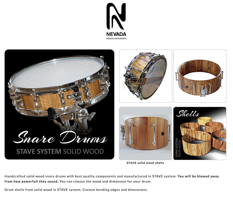 NEVADA-Sound solid wood shells and snare drums
